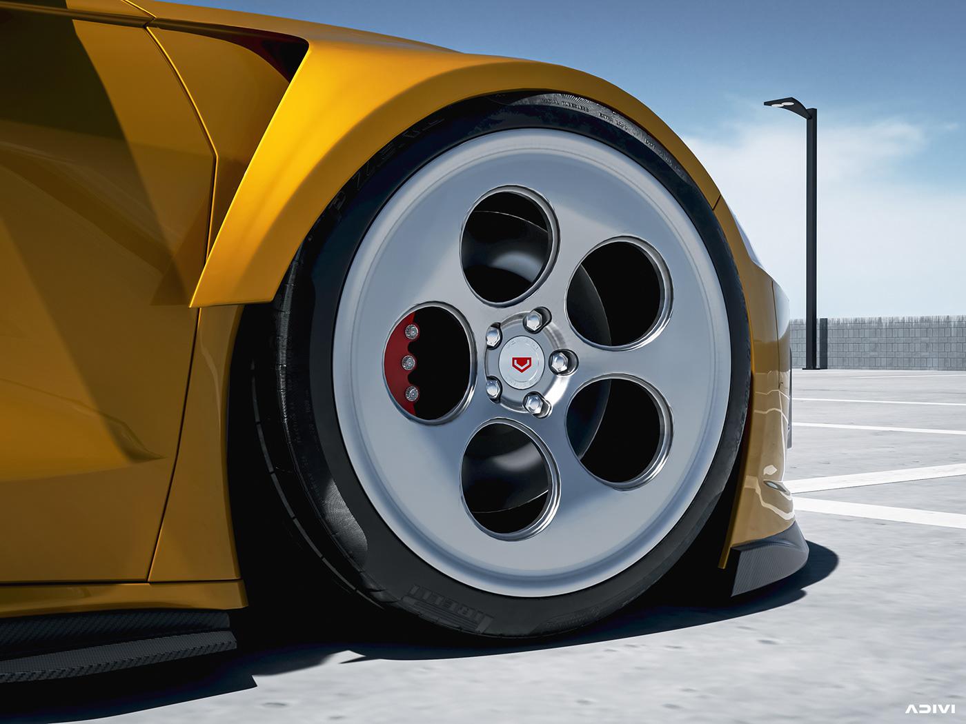3D CGI CHEVY Corvette Digital Art  ILLUSTRATION  lighting Render