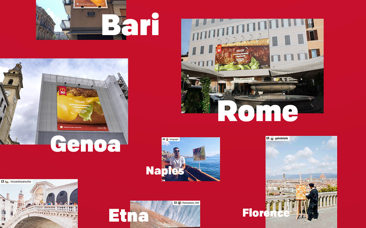 McDonalds bigmac integrated quest anniversary Advertising  Outdoor Italy