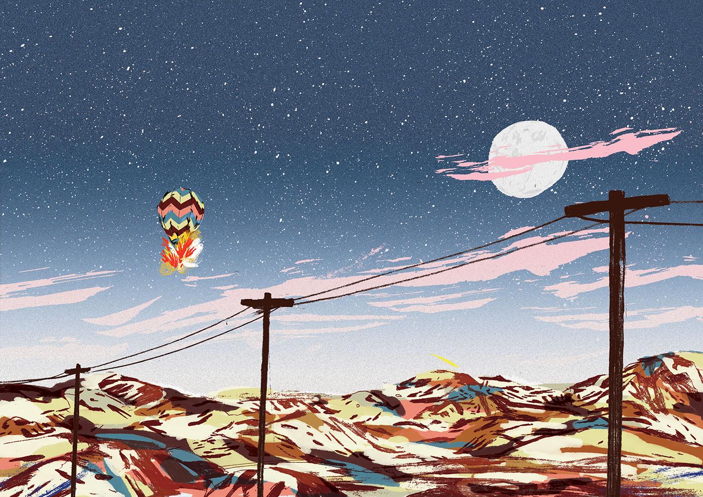 moon dunes night hot air balloon fire colourfull