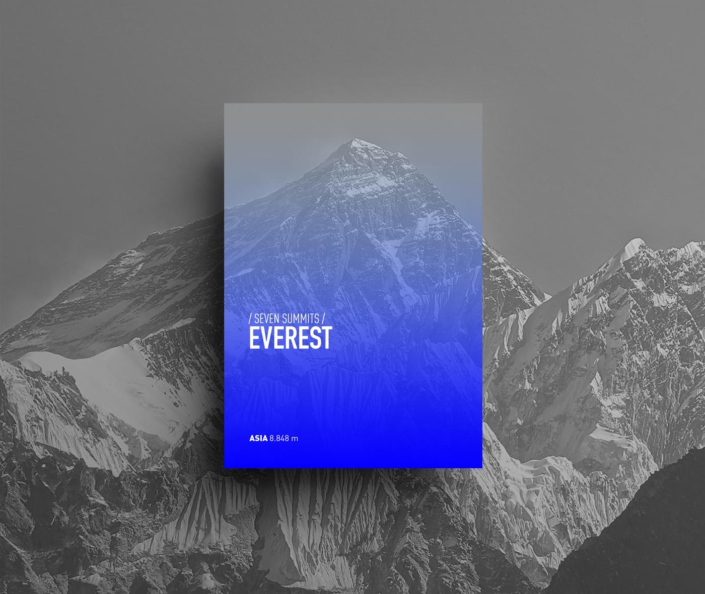 Adobe Portfolio poster design mountain seven summits snow everest kilimanjaro elbrus Vinson blue fresh color Shades minimal Minimalism