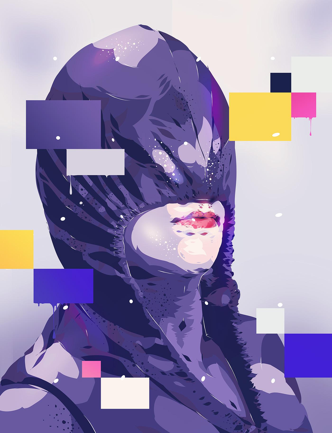 portrait canvas colorfu model Fashion  sport daft punk Drawing  print ILLUSTRATION