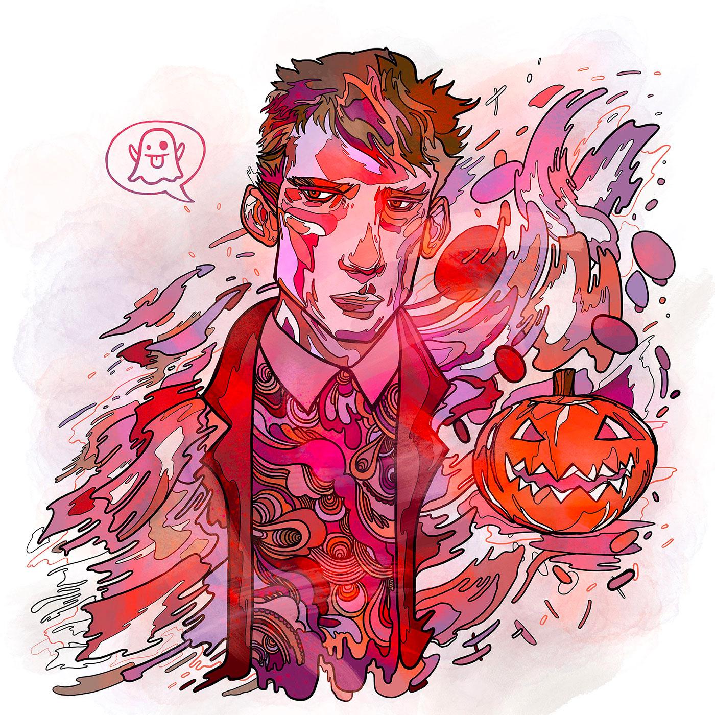 autumn Autumnal female Halloween line male Procreate pumpkin Scary skull