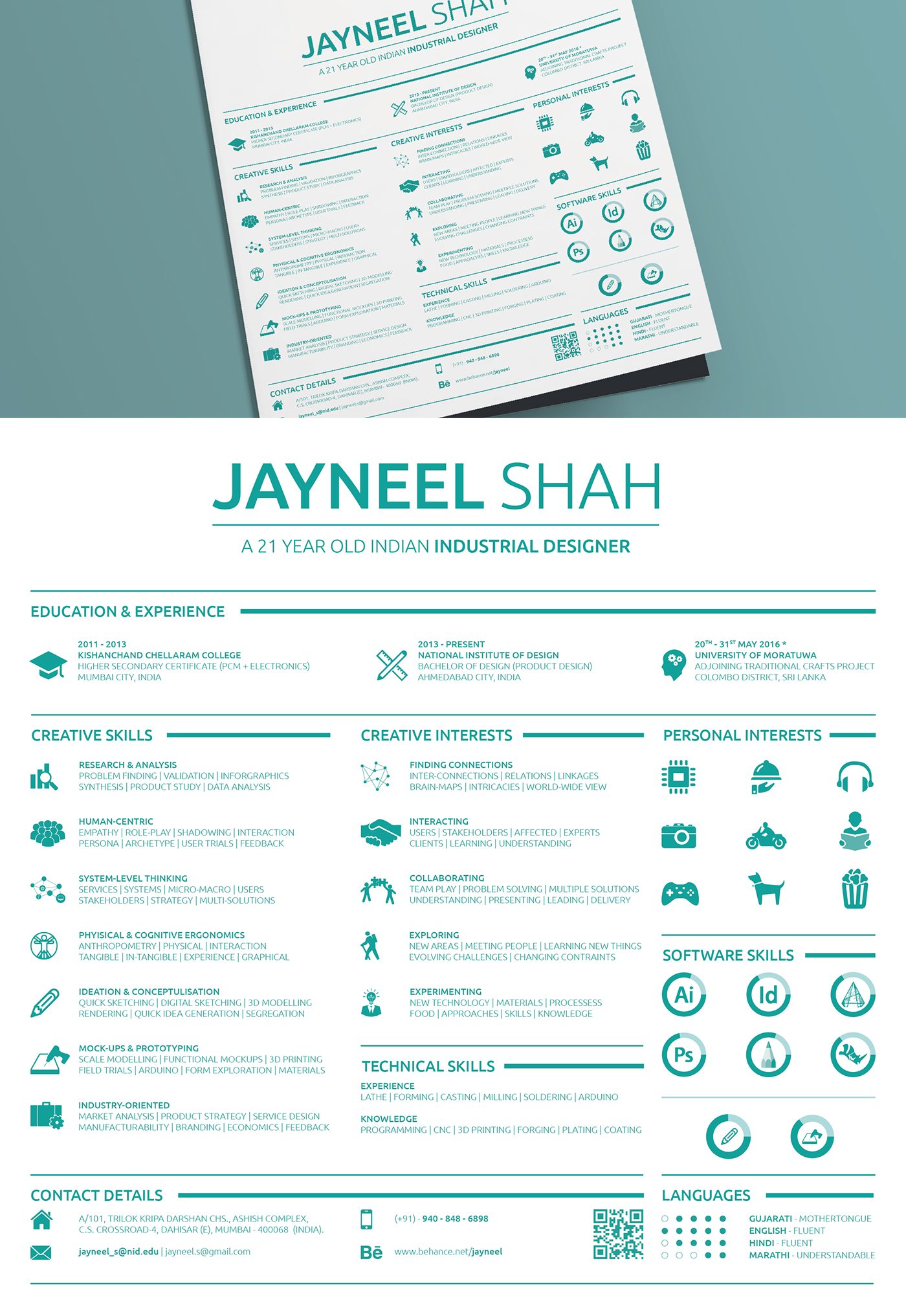 industrial design student resume 2016 on behance