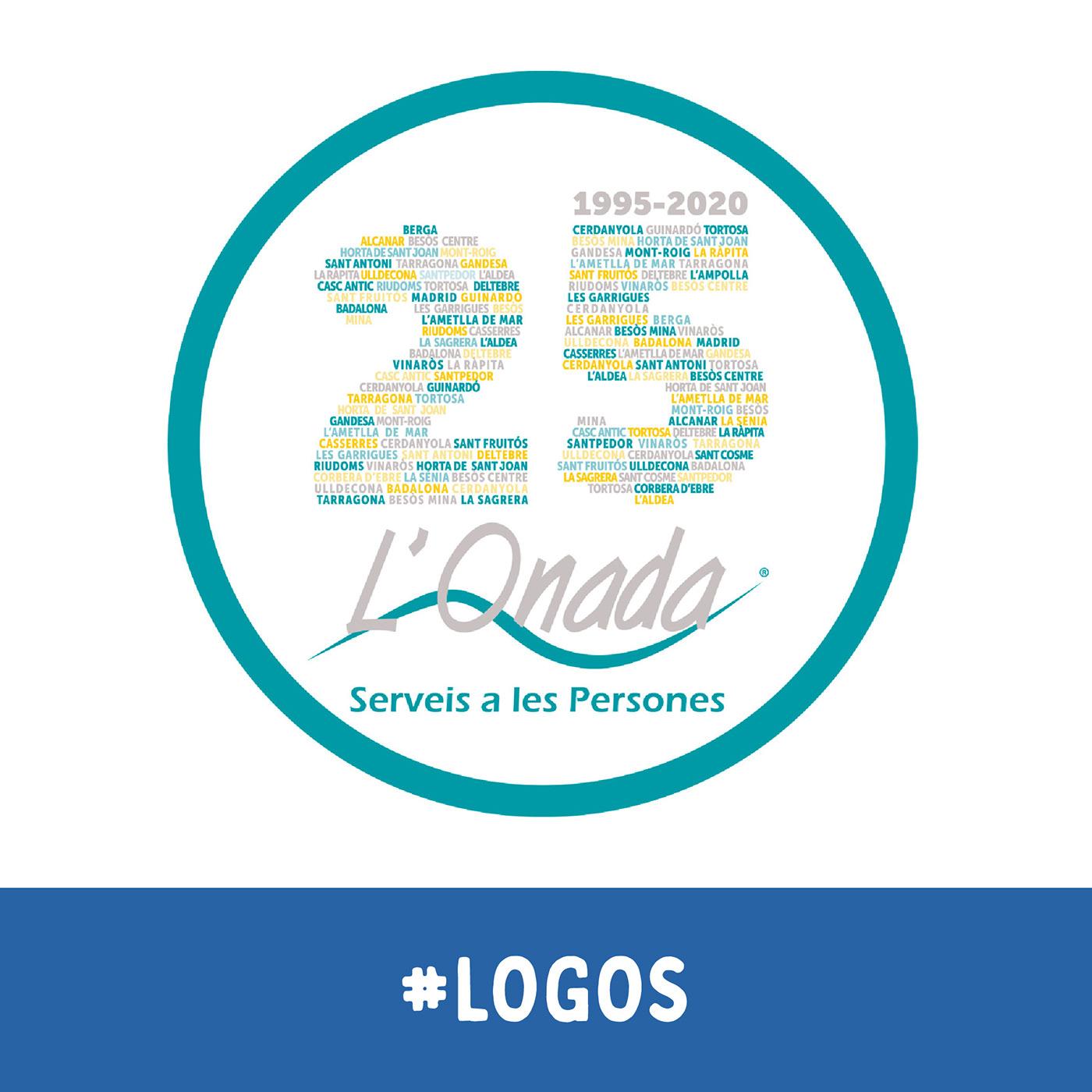 Logotipo para el 25 aniversario de L'Onada Serveis. Incorpora tipográficamente los centros actuales.