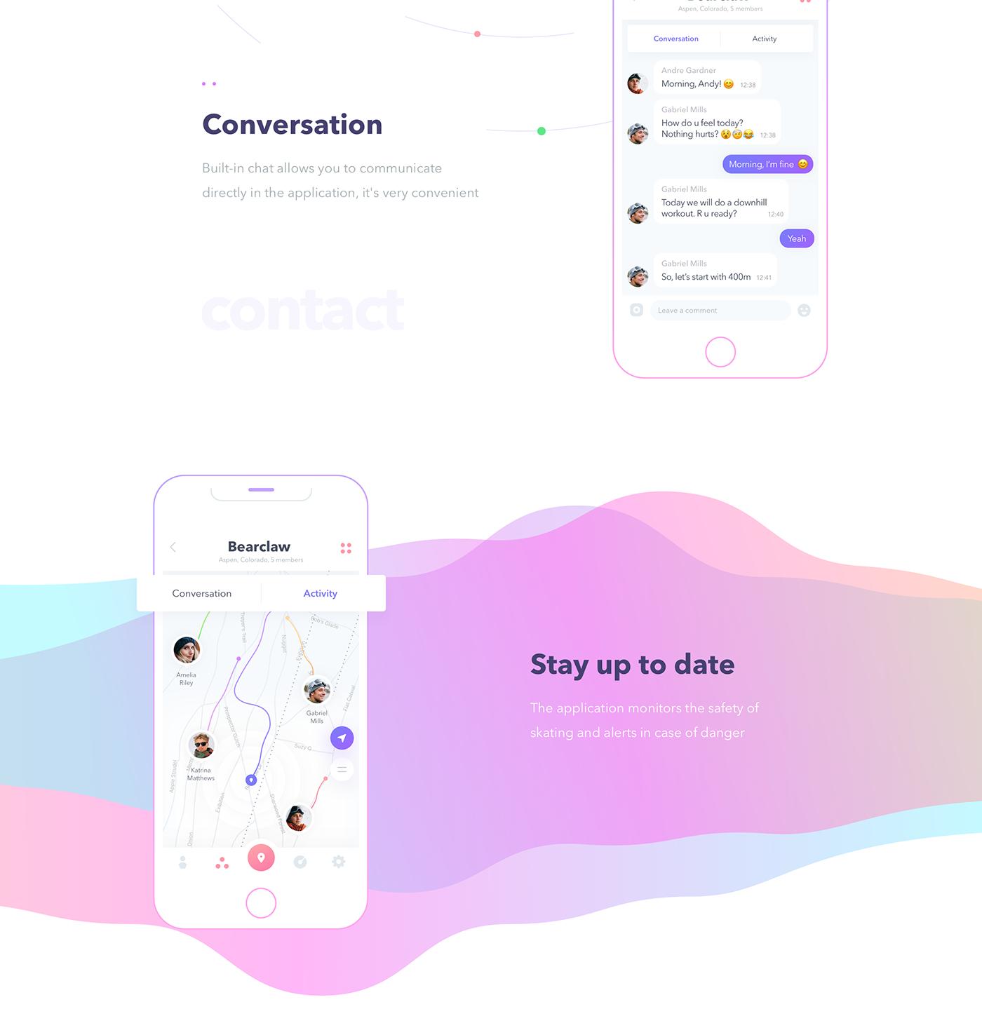 UI ux Interface interactive design clean ios PODOLSKI ride Snowboarding