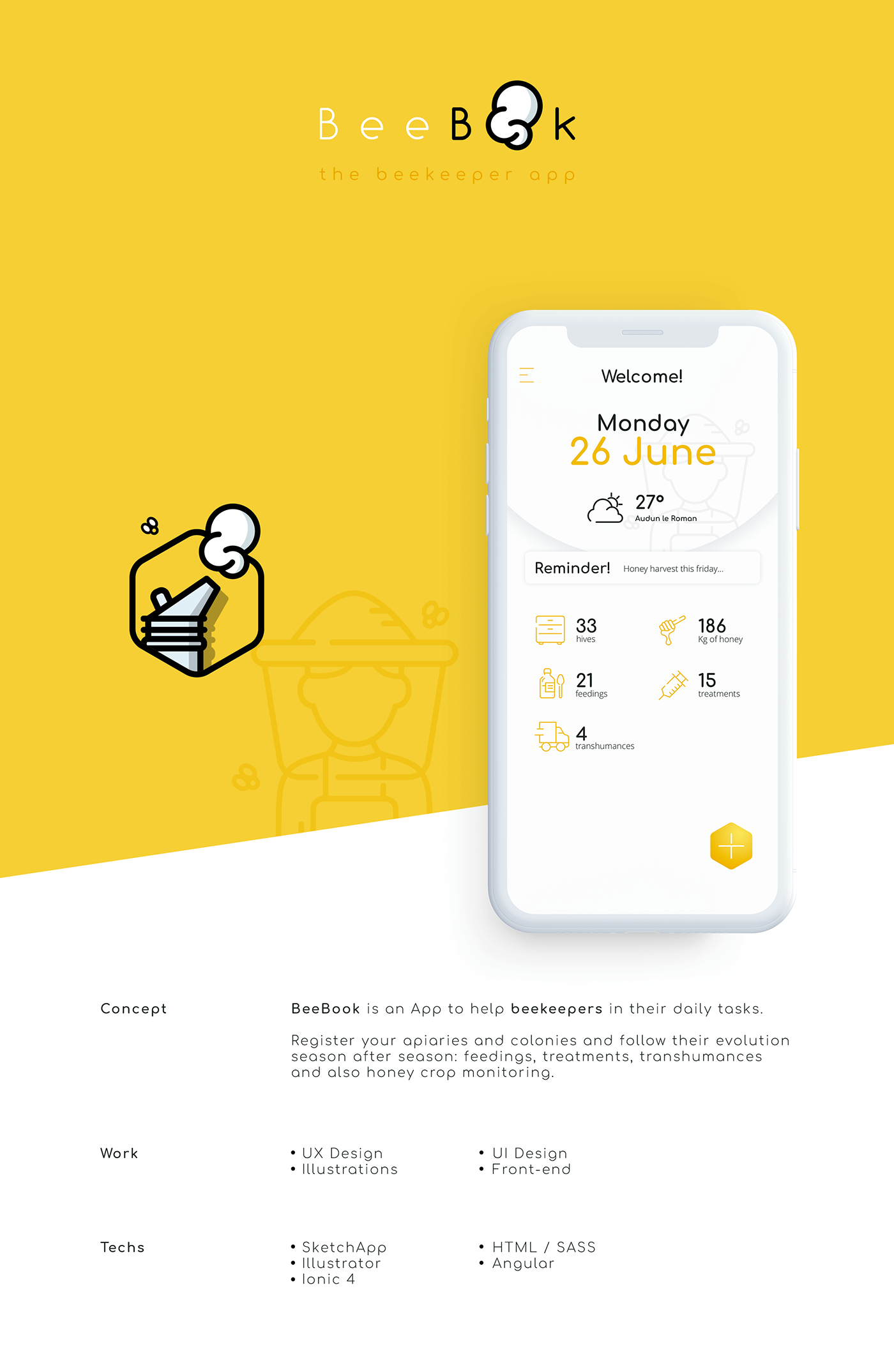 app design,design,ui design,UX design,bee,beekeeping,ILLUSTRATION ,bees,honey