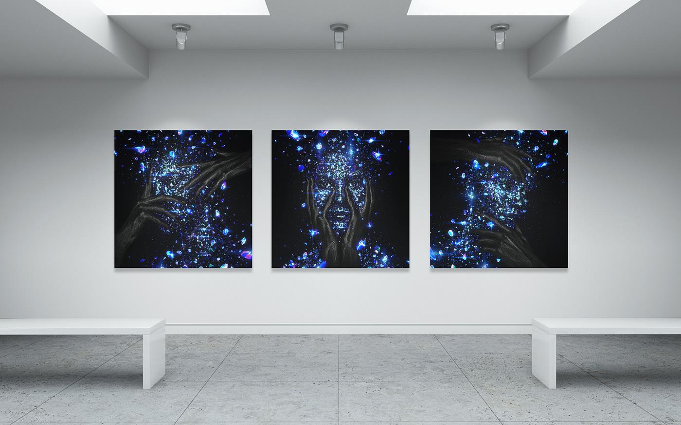 beauty blue broken diamond  face glow neon nft print woman