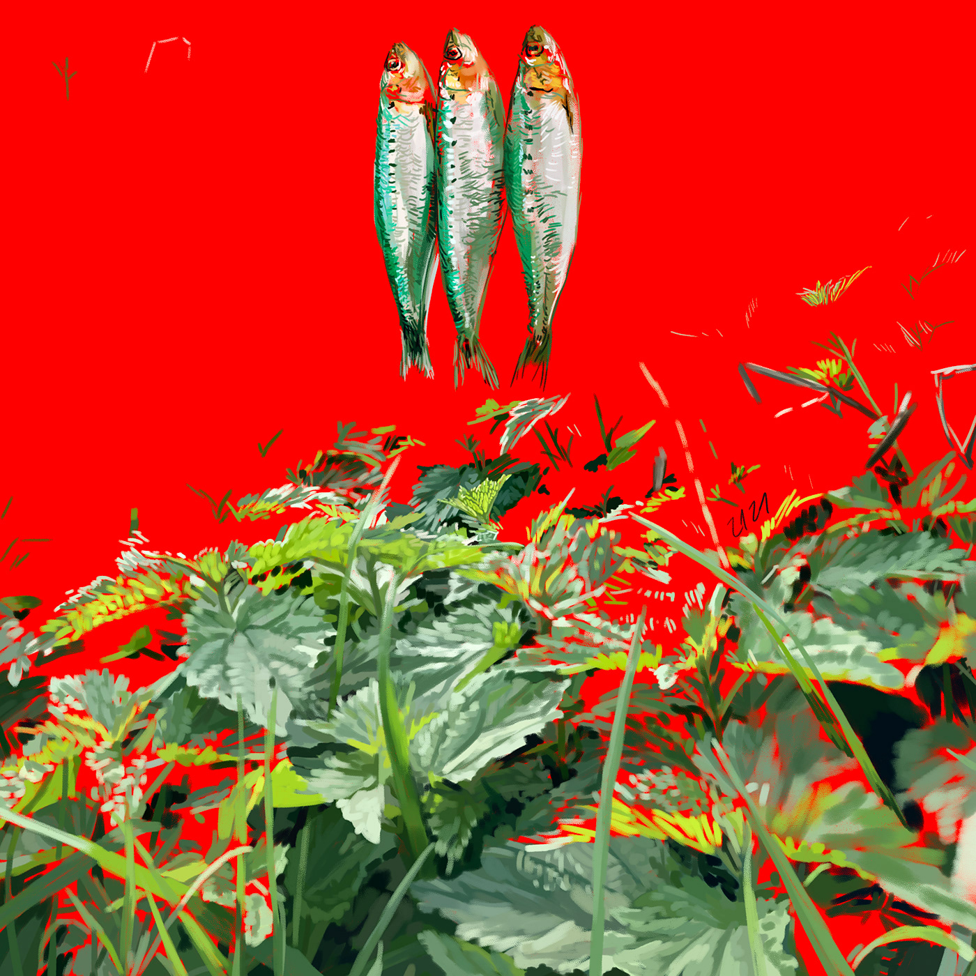 detailed drawing digital Digital Drawing Drawing Collection fish Landscape Nature photorealism realistic red