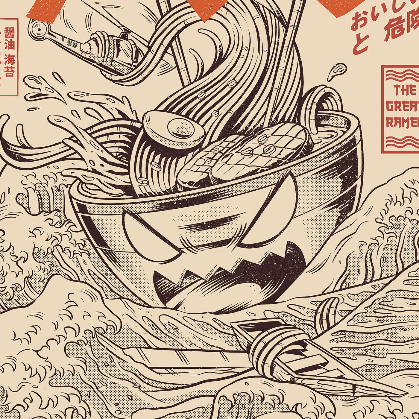 japanese kaiju monster Food  ramen japan wave t-shirt Ilustração lamen
