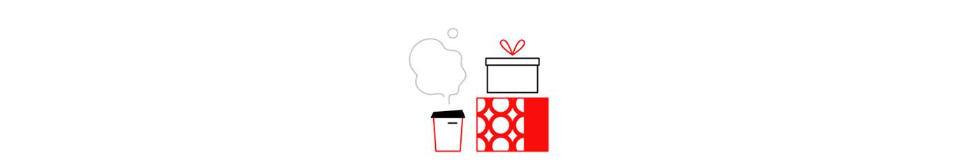 bushe uniqlo Coffee cups new year Christmas holydays winter lineart minimalistic