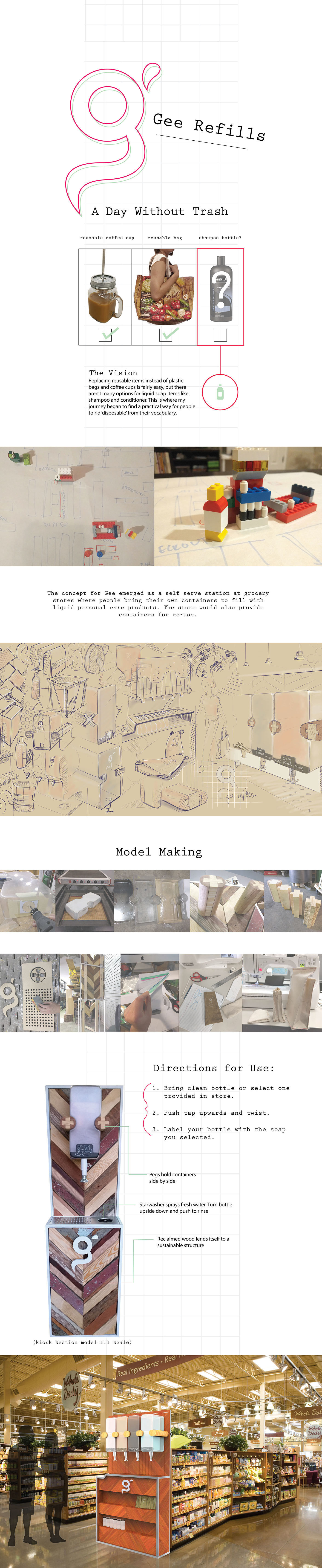 soap Sustainability Refills Kiosk Grocery industrial design sketching SCAD reclaimed wood model