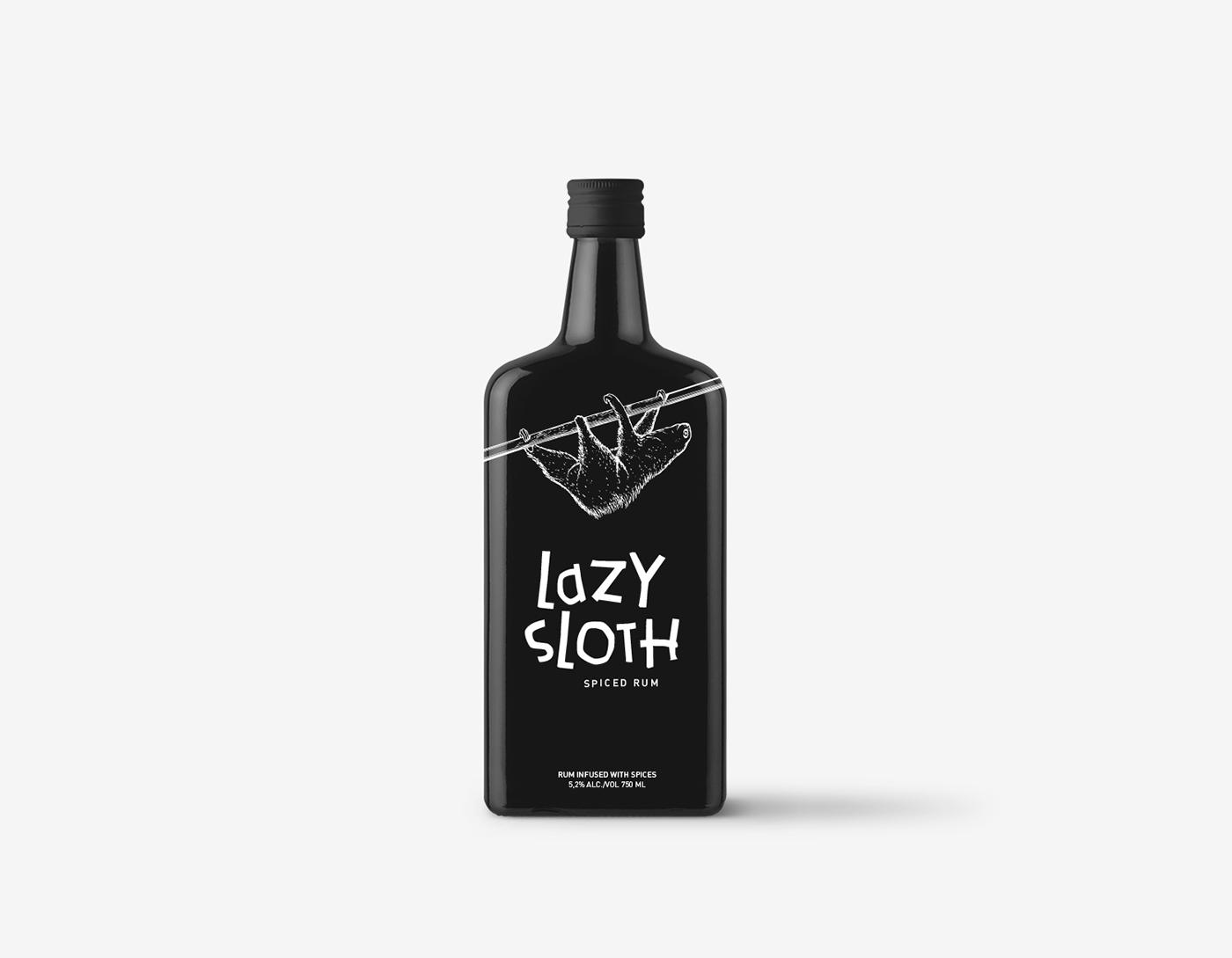 Packaging,ILLUSTRATION ,branding ,Rum,design,art,animal,sloth,black,White