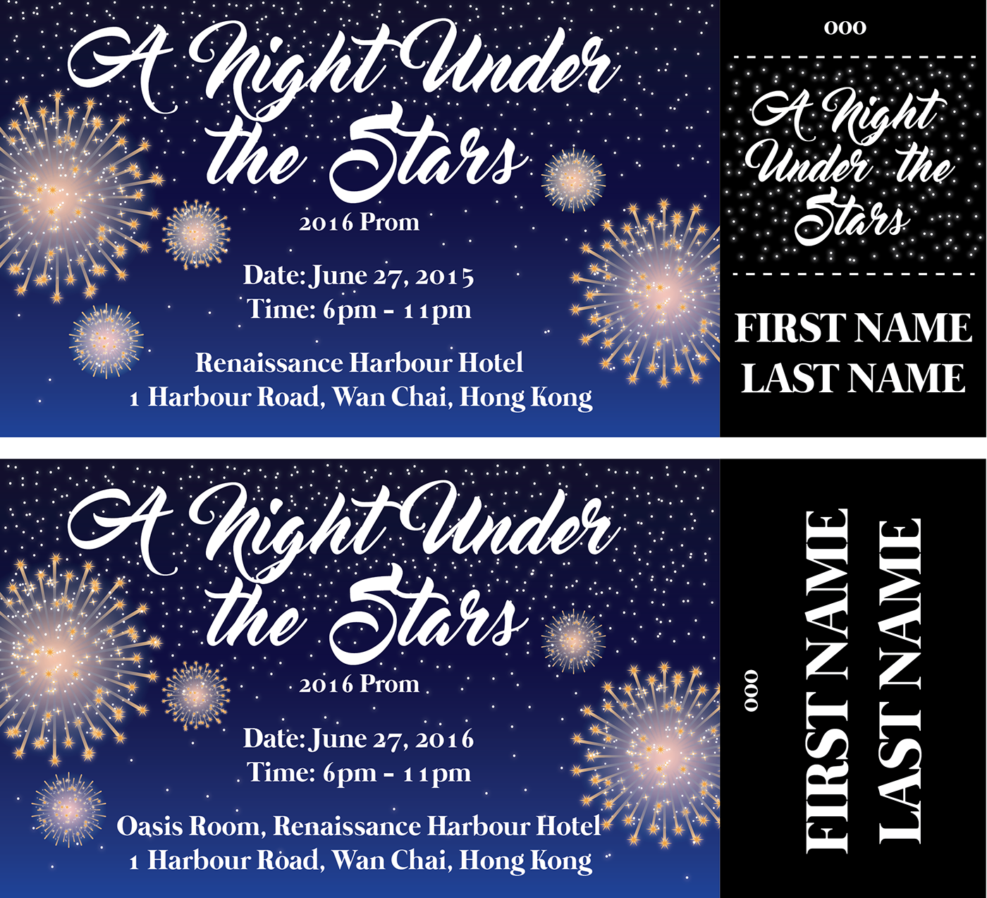 a night under the stars prom ticket design on behance