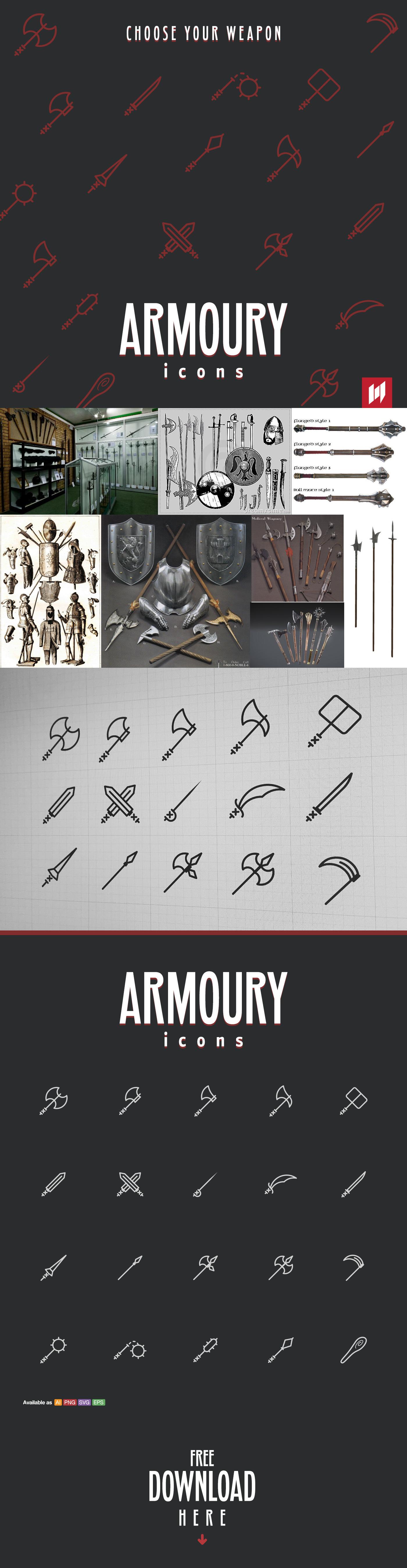 Icon free design medieval Swords Weapon armoury Armor vector UI set