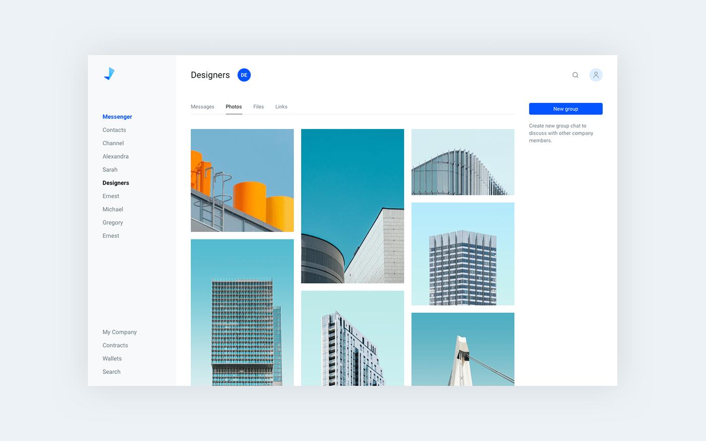 Web Design  Web digital product messenger WALLET corporative blockchain UI user interface business