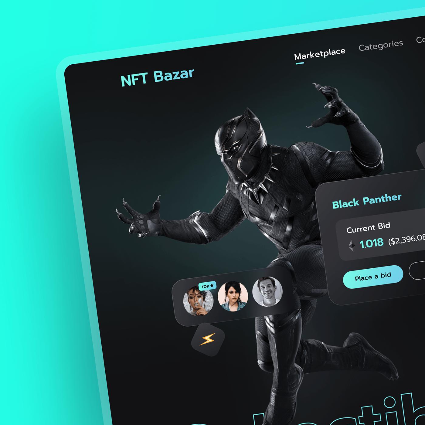 Clean UI cryptocurrency design designer glassmorphism Marketplace minimal design nft ui designs Web Design