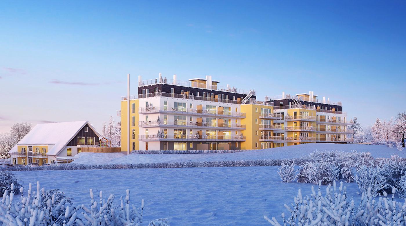 3D Rendering architecture CGI Exterior rendering visualization winter
