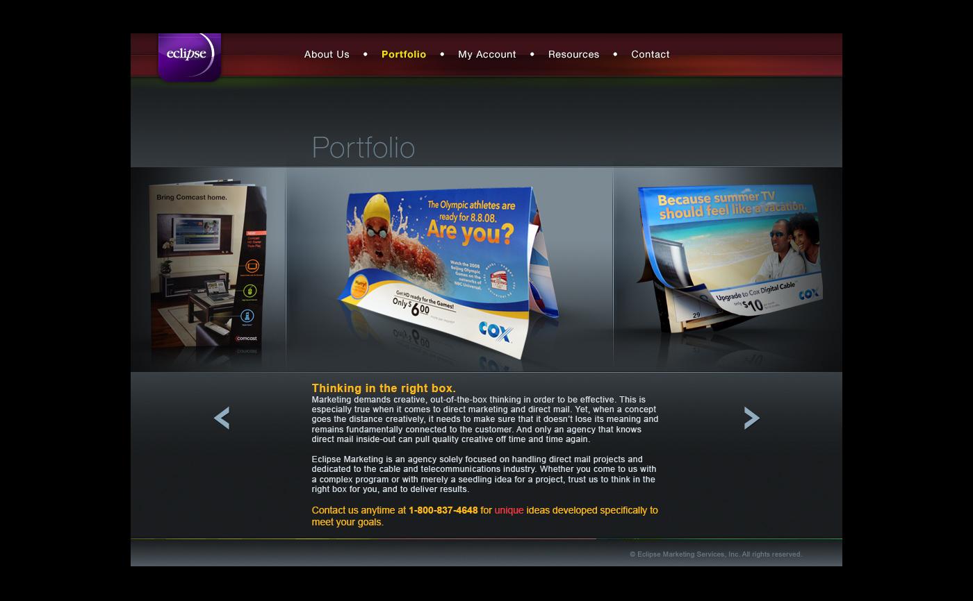 Eclipse Marketing Services Direct mail portfolio store Cox time warner comcast Website redesign