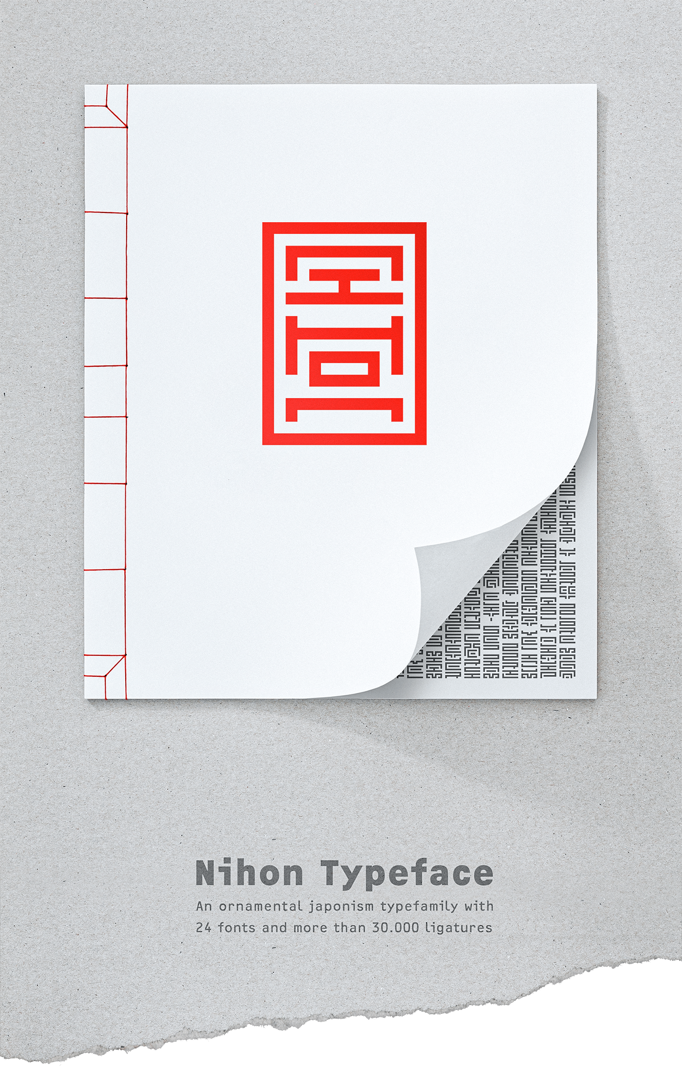 type-design ornamental Typeface Ligatures font japan abstract minimal geometric typo letters glyphs asia seal hfgoffenbach
