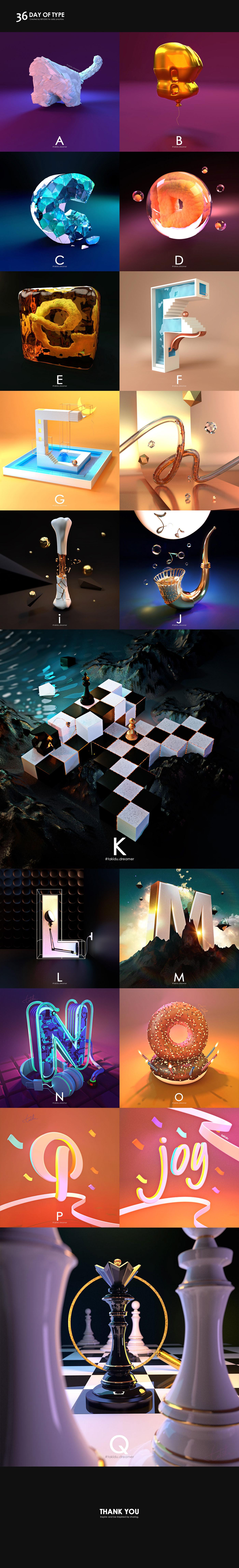 36dayoftype 3D ABC alphabet blender concept text type typo typography