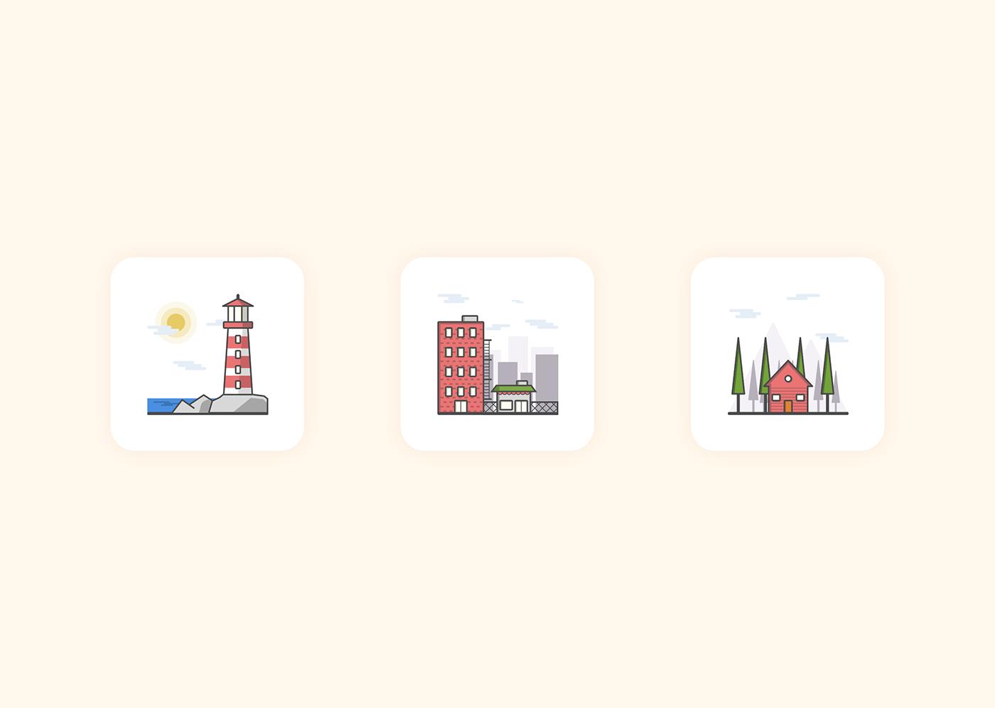 Icon icon set light house city mountain graphic design graphic design  minimalist icons