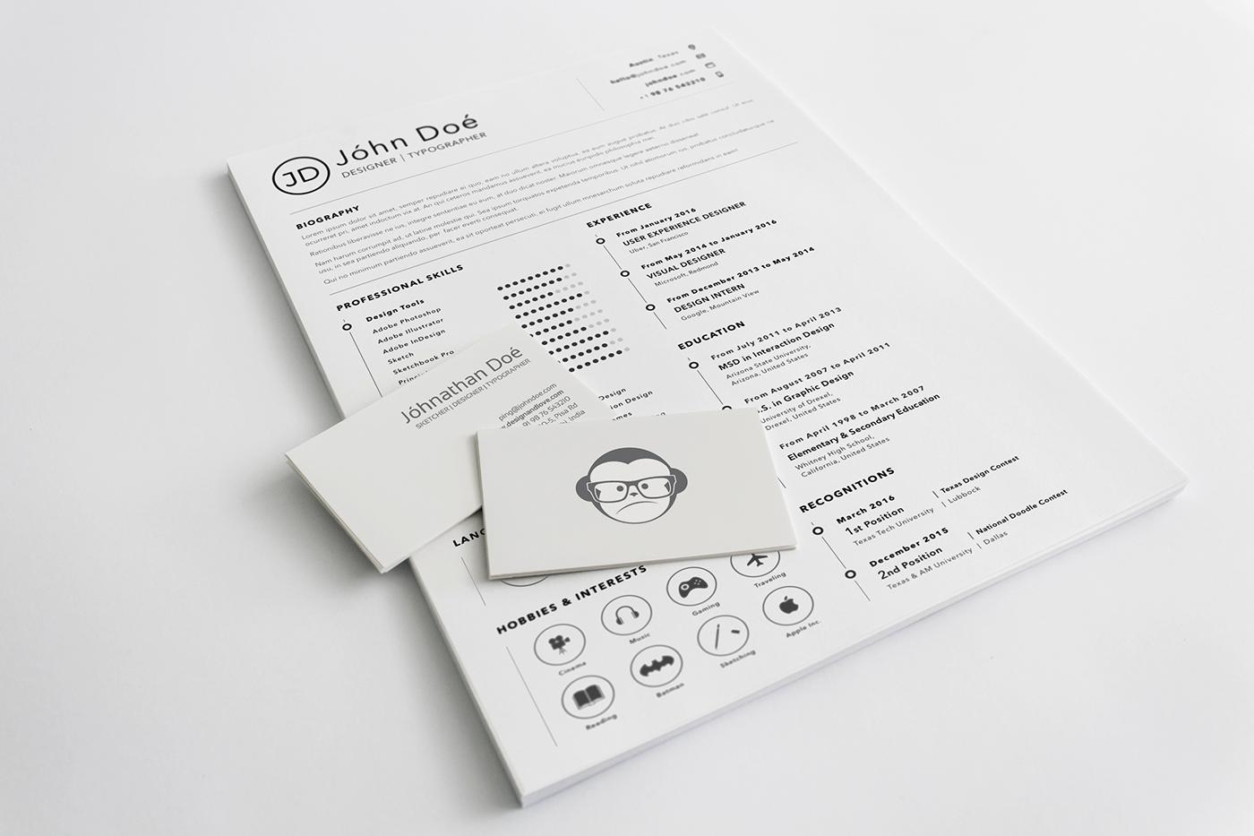 Resume free freebie sketch resource CV download template Mockup job