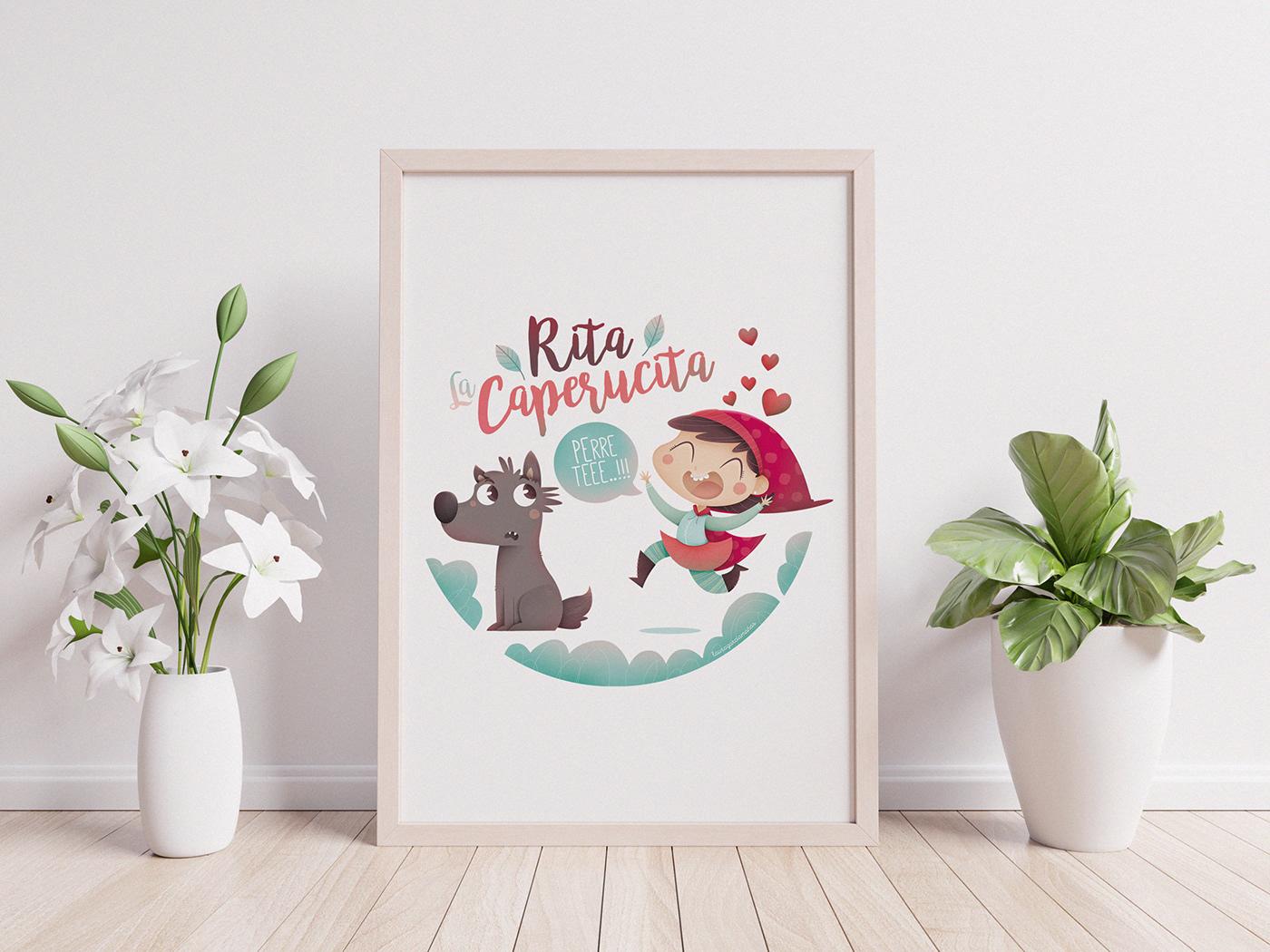 caperucita Lobo perro ilustracion amor corazon rita infantil