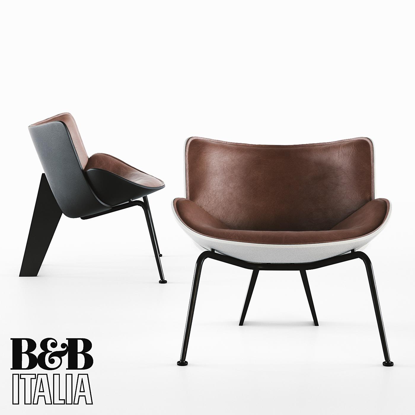 3d model armchair b b italia do naru on behance