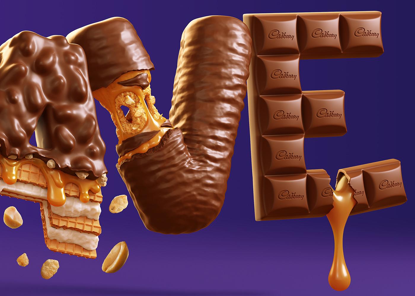 CGI,3D,chocolate,Cadbury,lettering,Food ,crave,caramel,honeycomb,wafer,peanut,Candy
