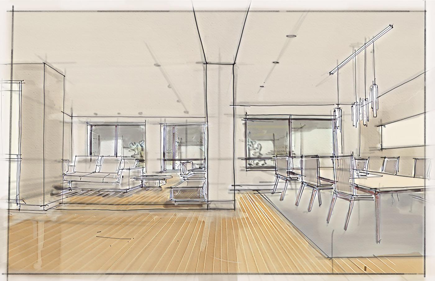 有創意感的19套室內設計手繪欣賞