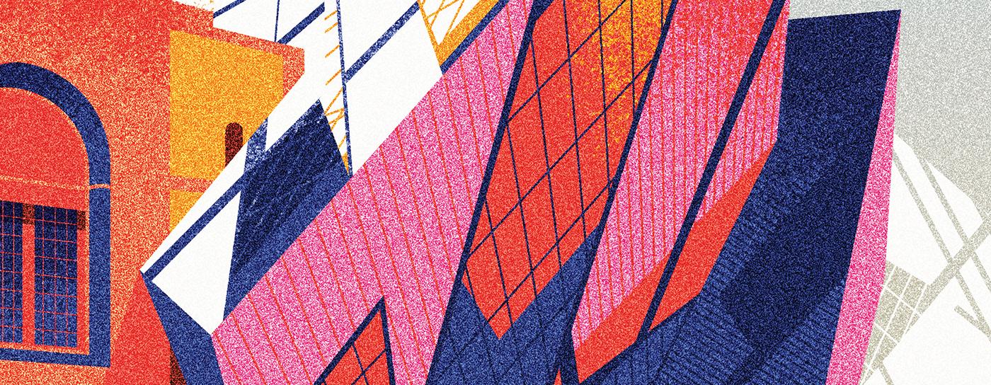 architecture vector art ILLUSTRATION  buildings ZAHA HADID colorfull conceptual idea MARIA FEDOSEEVA