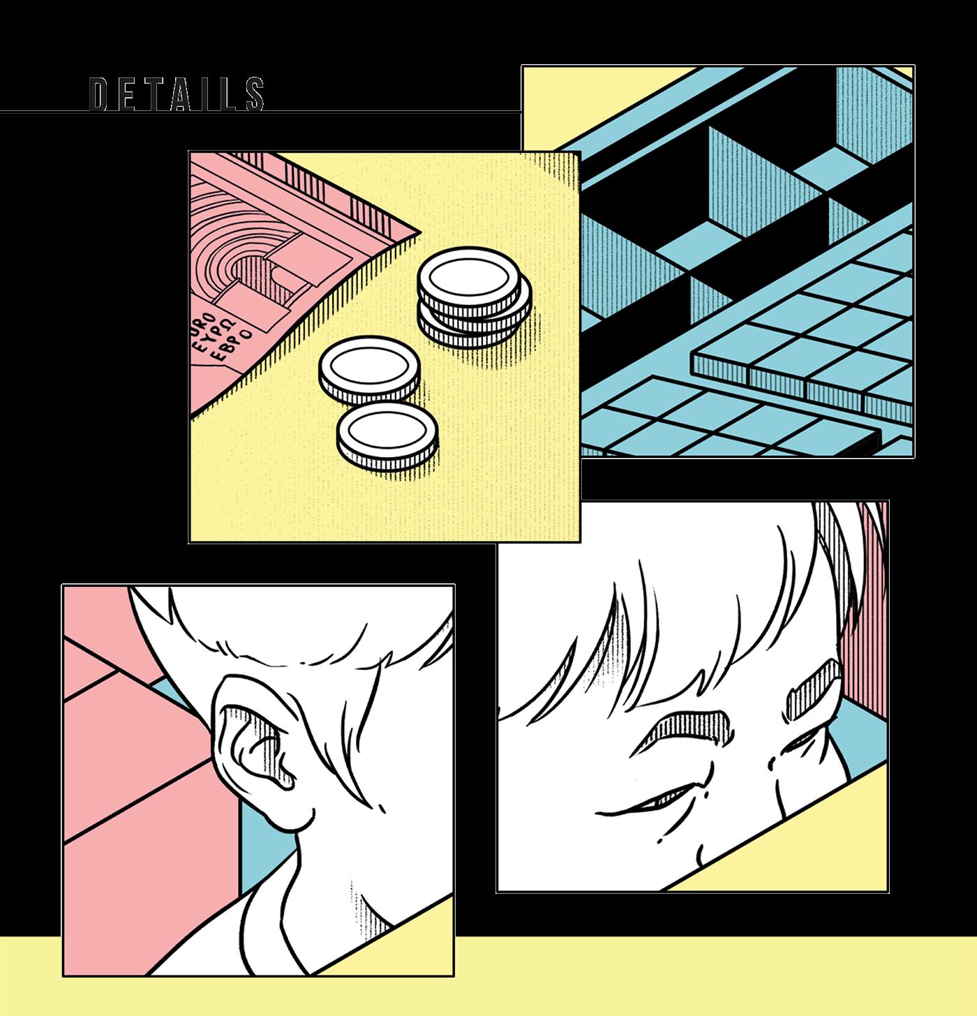 design editorial falt color ILLUSTRATION  magazine 2D art line lineart newspaper