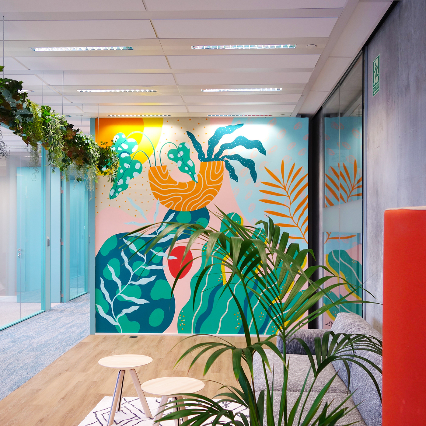 architecture barcelona coworking decoration Interior interior design  Mural Office painting   pattern