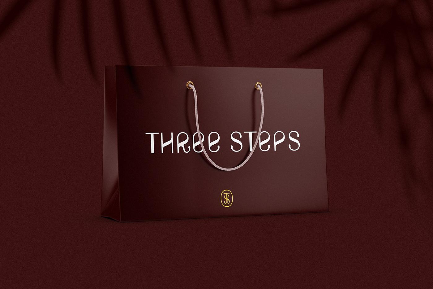 Clothing Fashion  graphic design  identity logo logobrand Three Steps typography