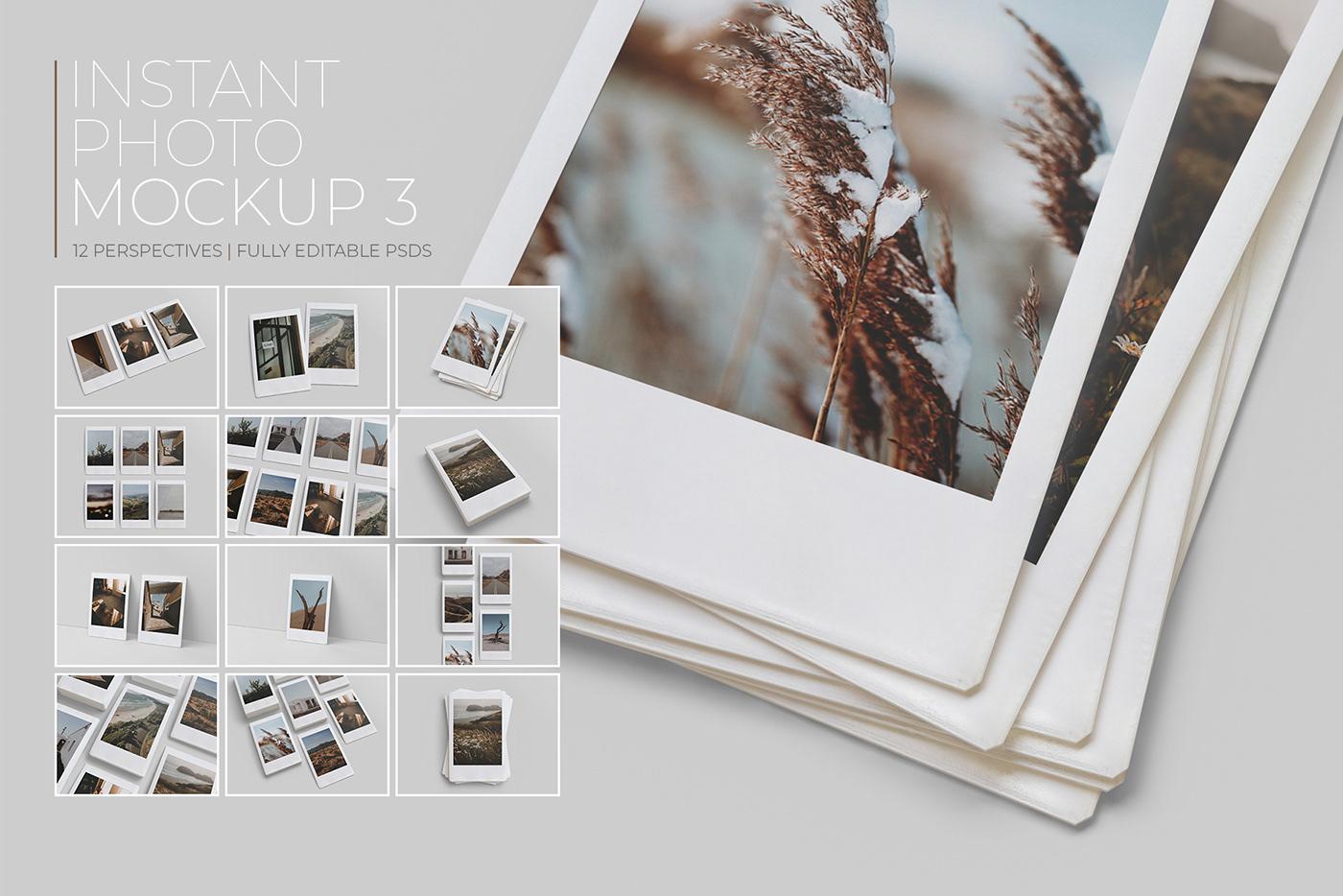 Mockup psd free realistic insta Photography  portfolio instant frame scene