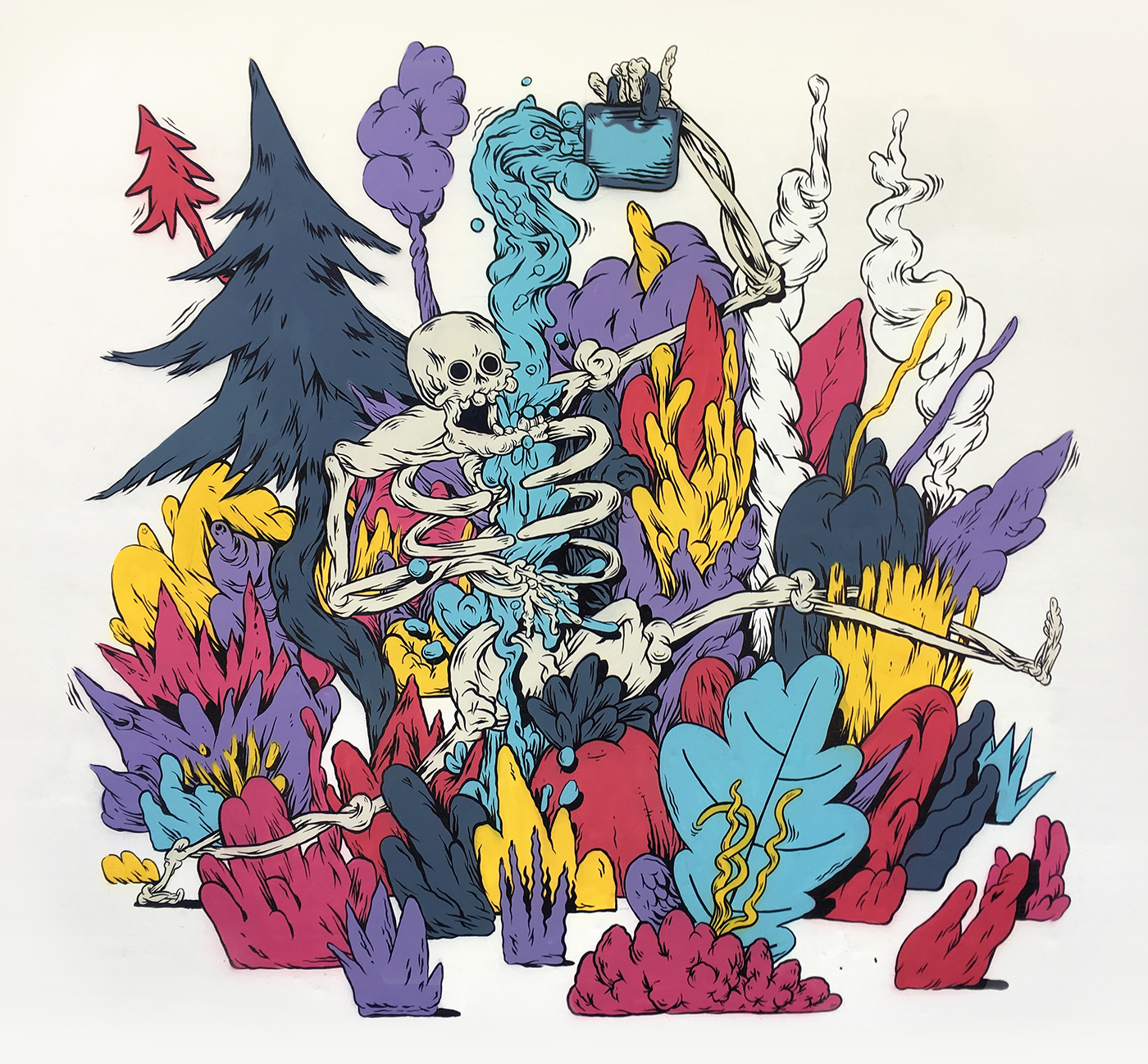 spraypaint skeleton plants linework colour Nature papagallosch