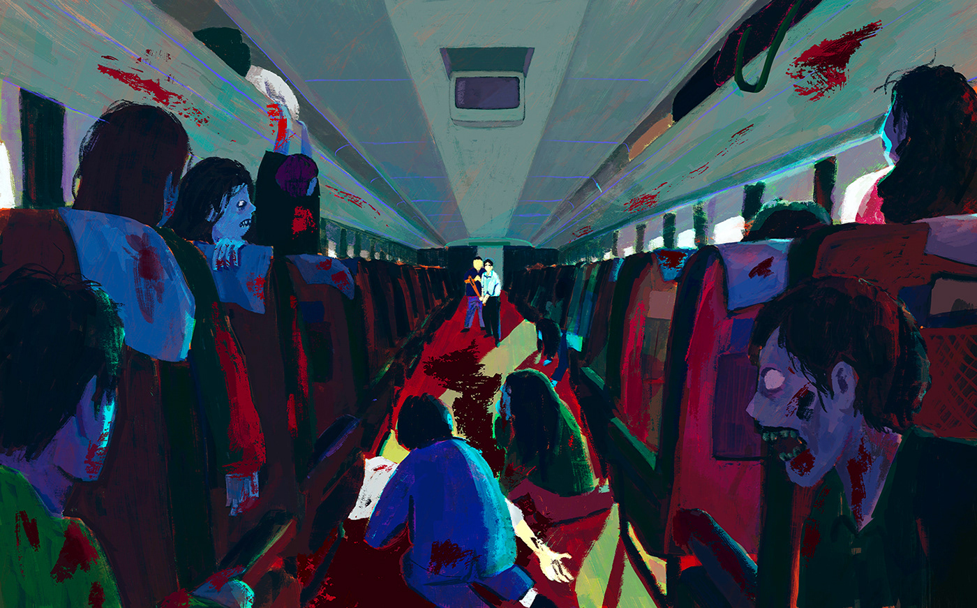Zombie apocalypse in a long-distance train. Two men are at the back trying to survive.