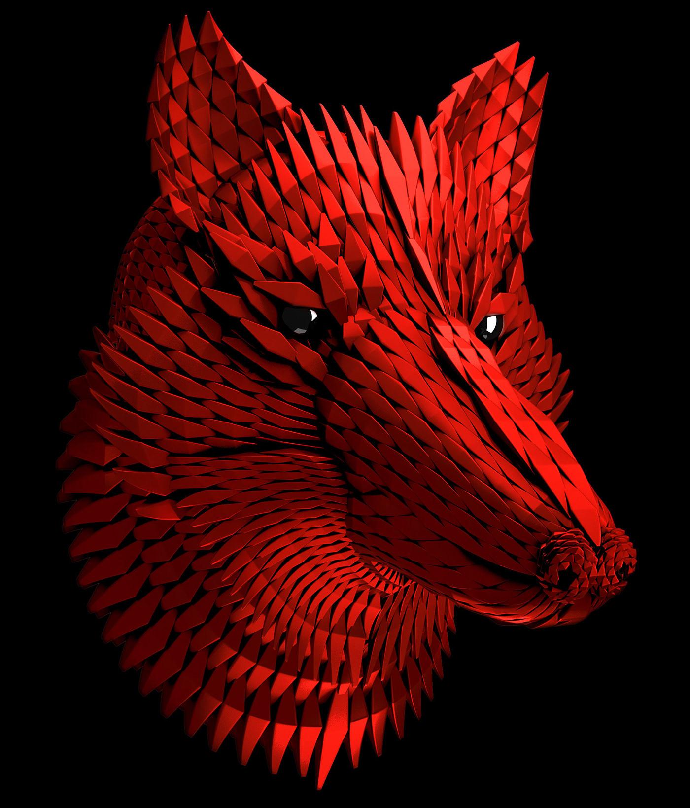 ILLUSTRATION  art digital 3D wolf animals wild colors concept design