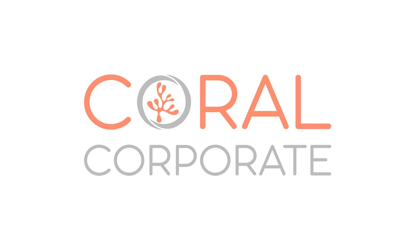 coral grey corporate business feminine round