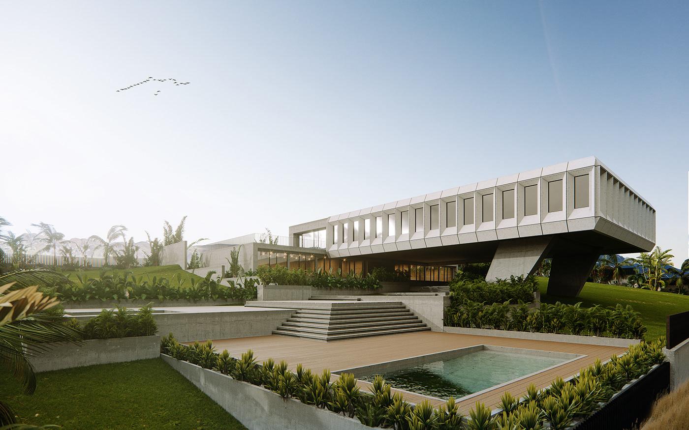 arhitecture design Soviet Georgia Tropical modern Villa