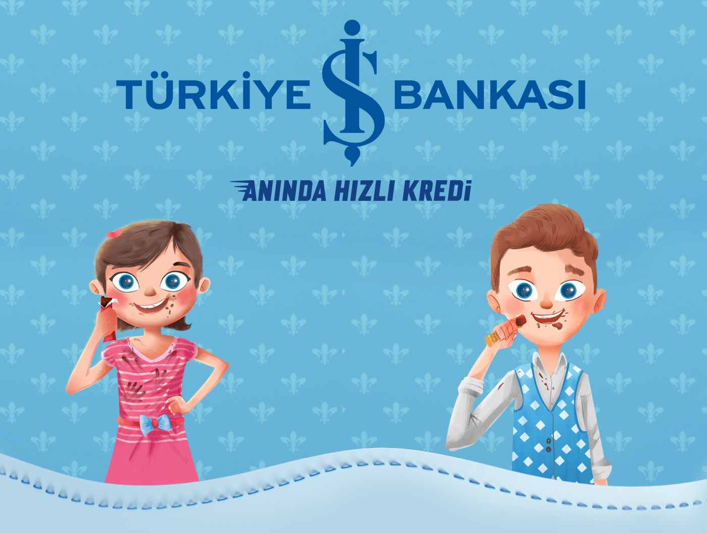 Character color 3D pink blue isbank kredi chocolate