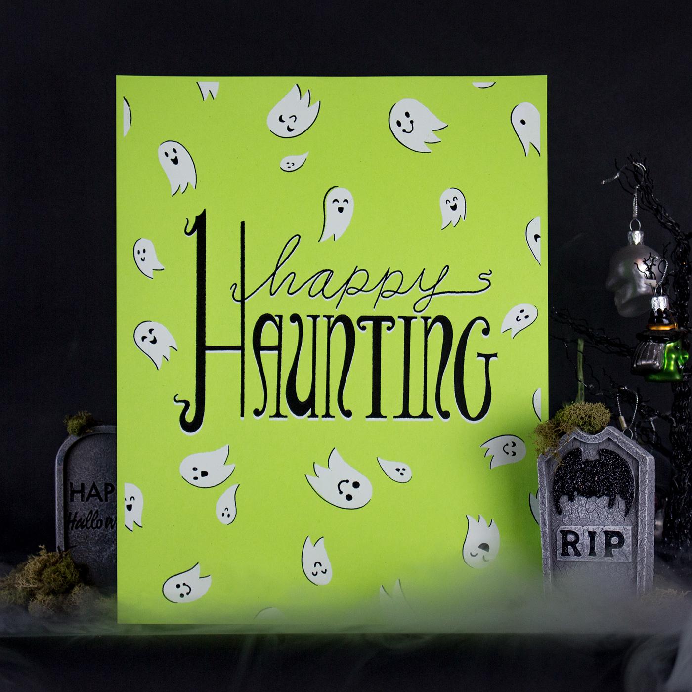SIlkscreen Posters Poster Design HAND LETTERING custom typography ILLUSTRATION  Halloween handmade Prop Styling timelapse cute