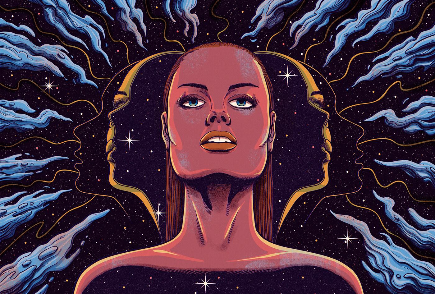 Space  woman portrait cosmos psychedelic Retro vintage youth universe astronaut