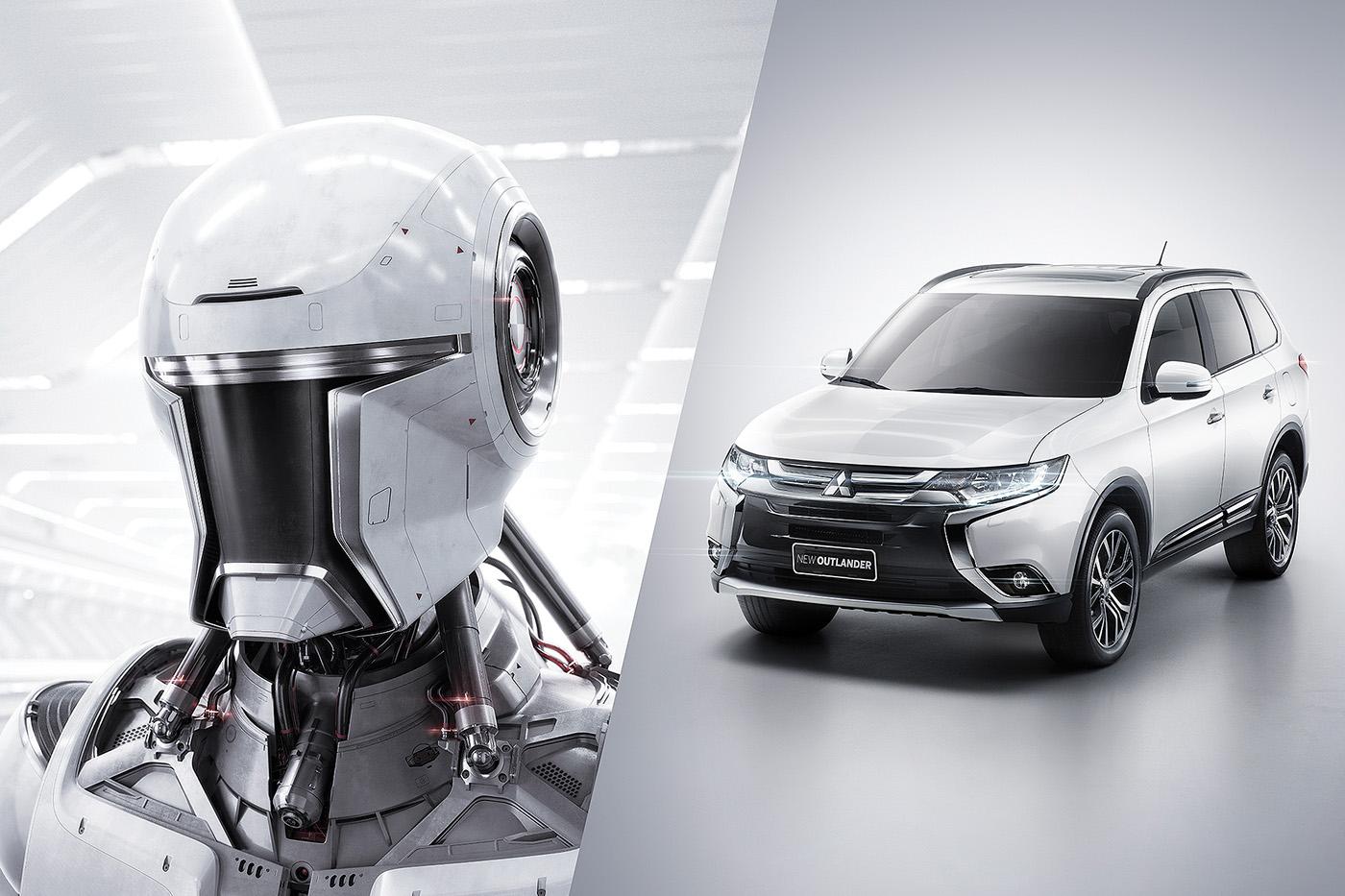 Mitsubishi car robot clean future White