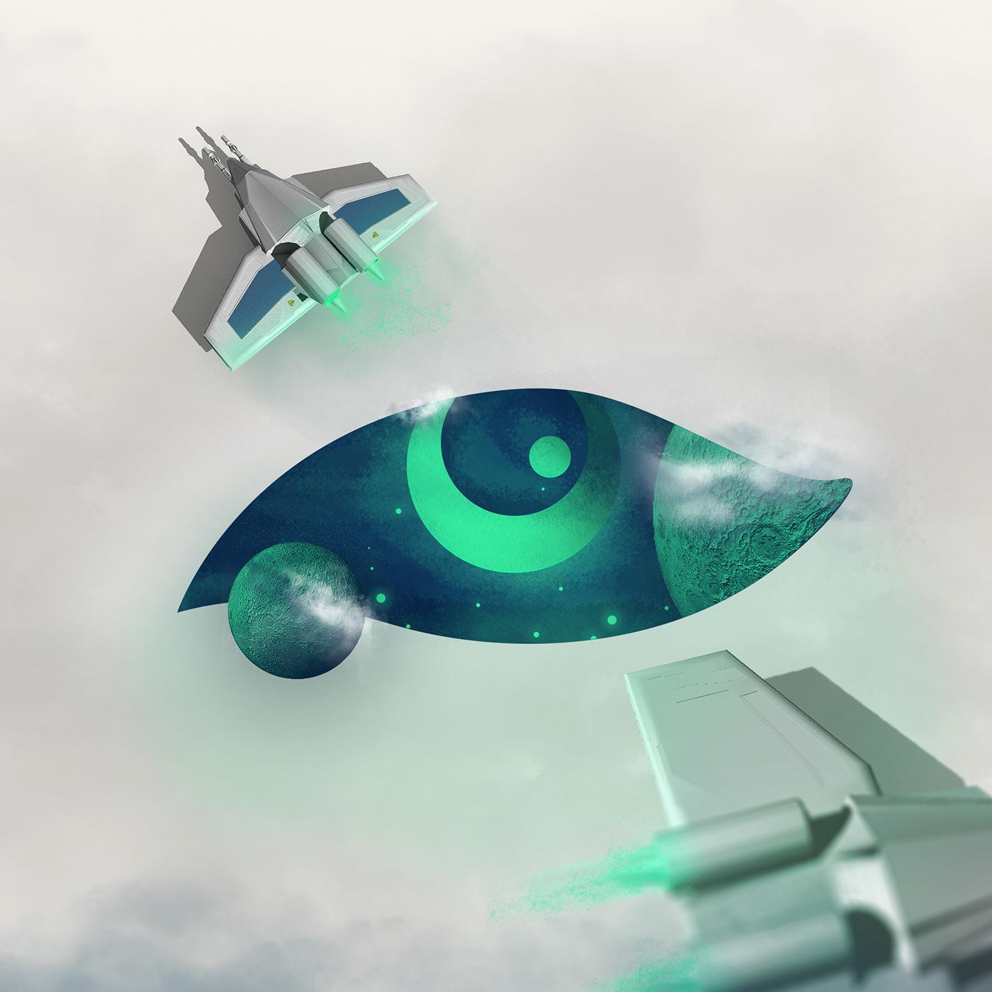 Space  eye photoshop green eyes rocket