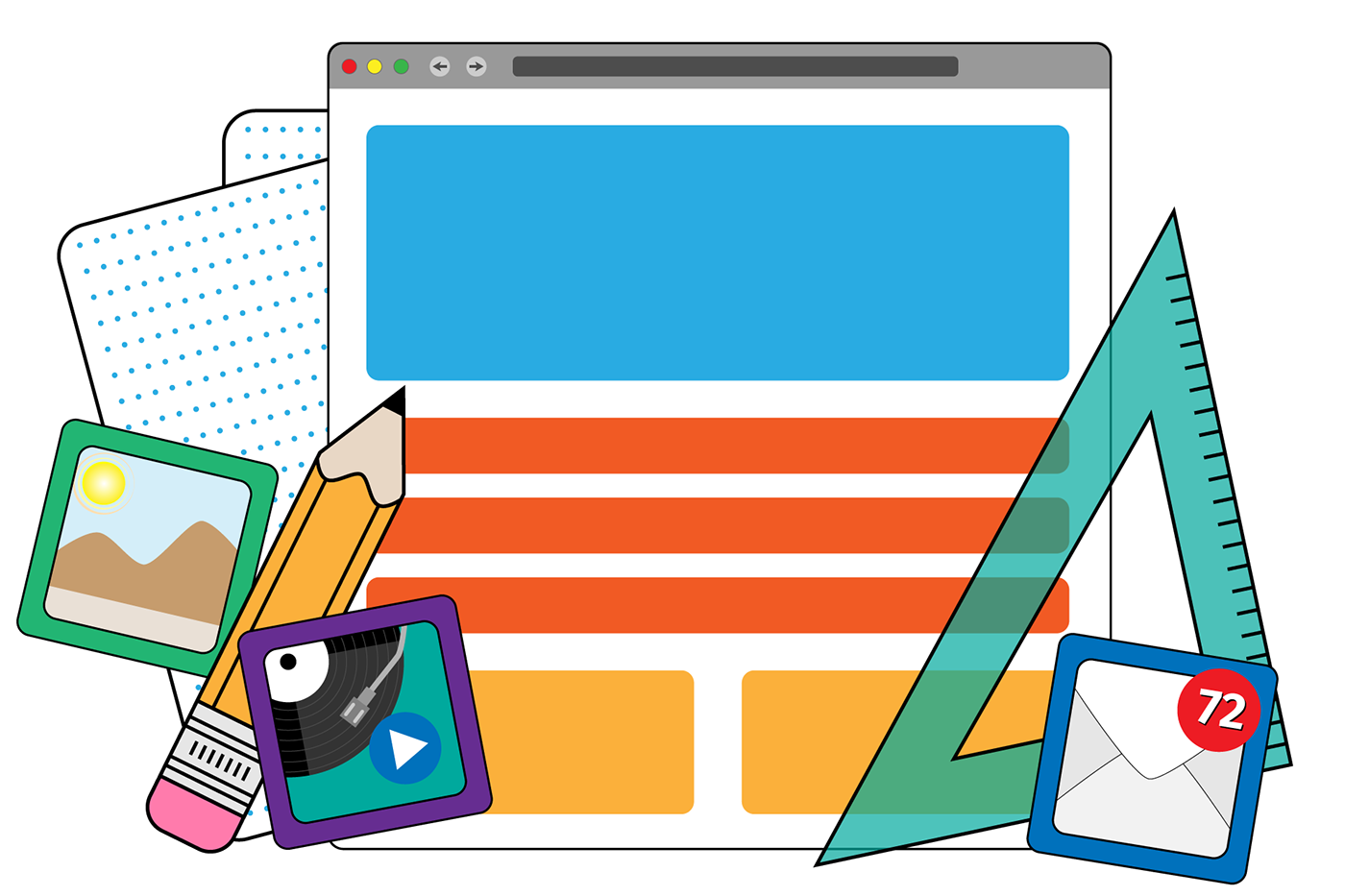 Dot grid sketch paper behind stylized browser window with isometric triangle, pencil, and app icons
