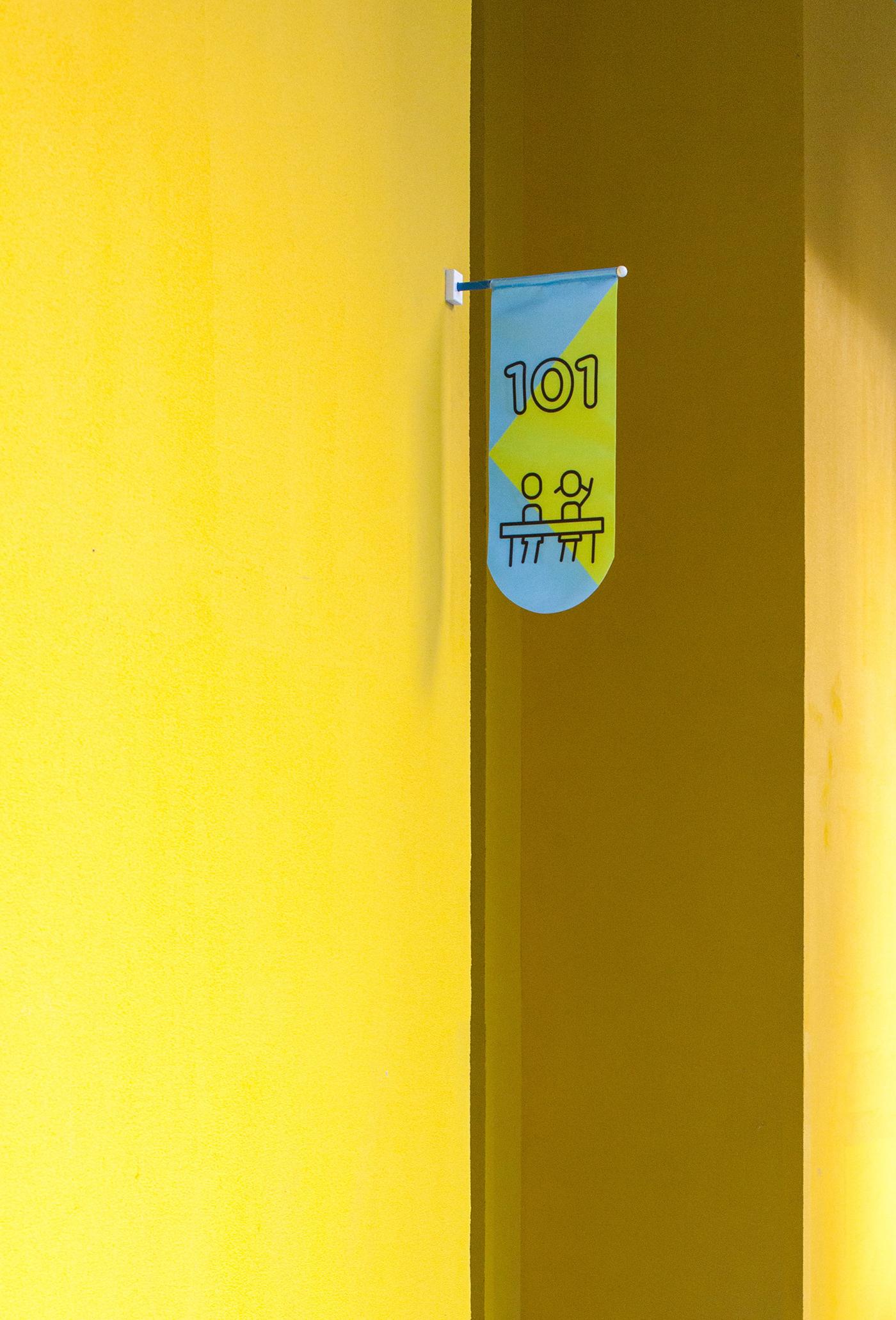 Image may contain: yellow, wall and door