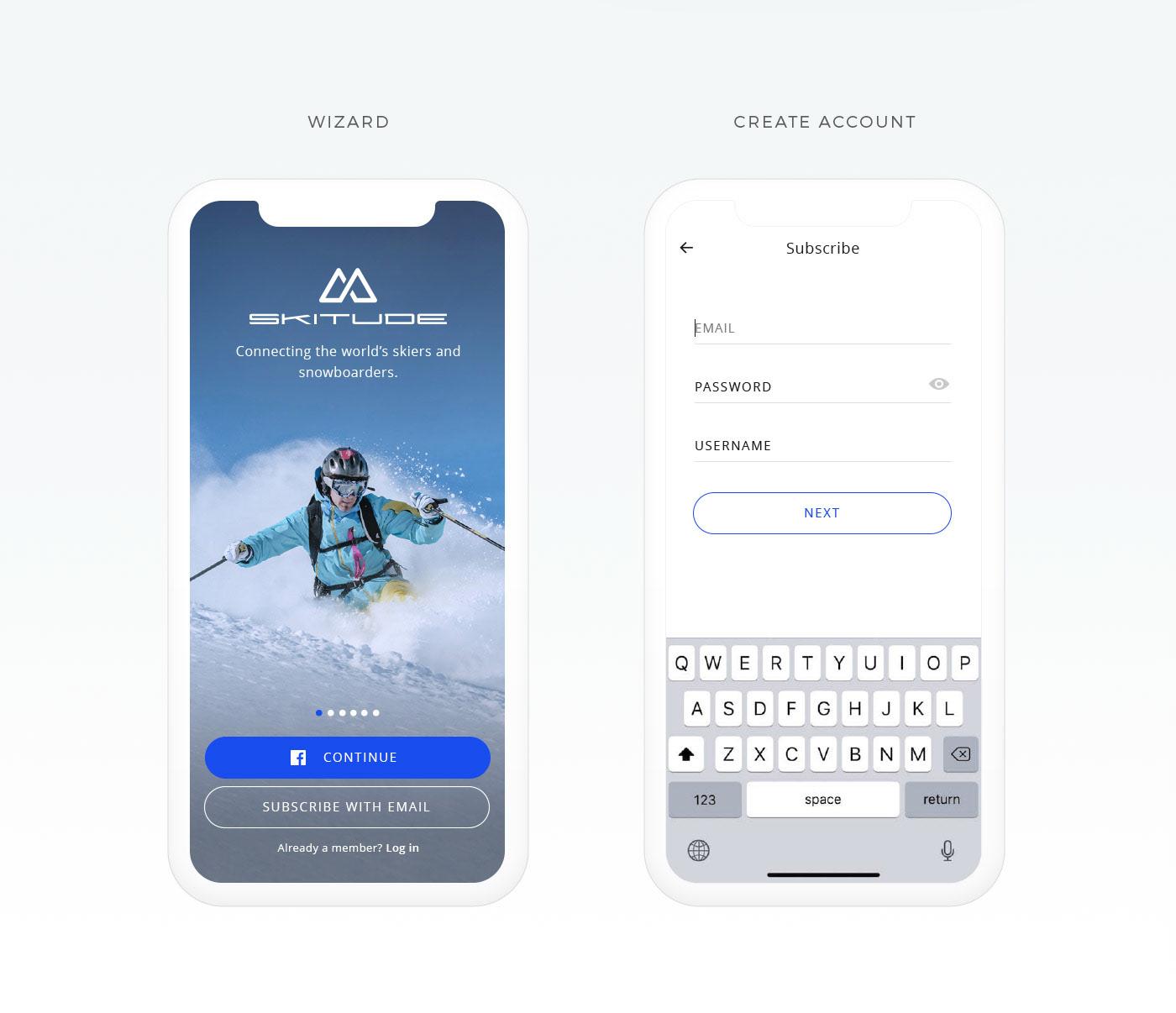 ux UI app snow Ski snow board winter mobile sport