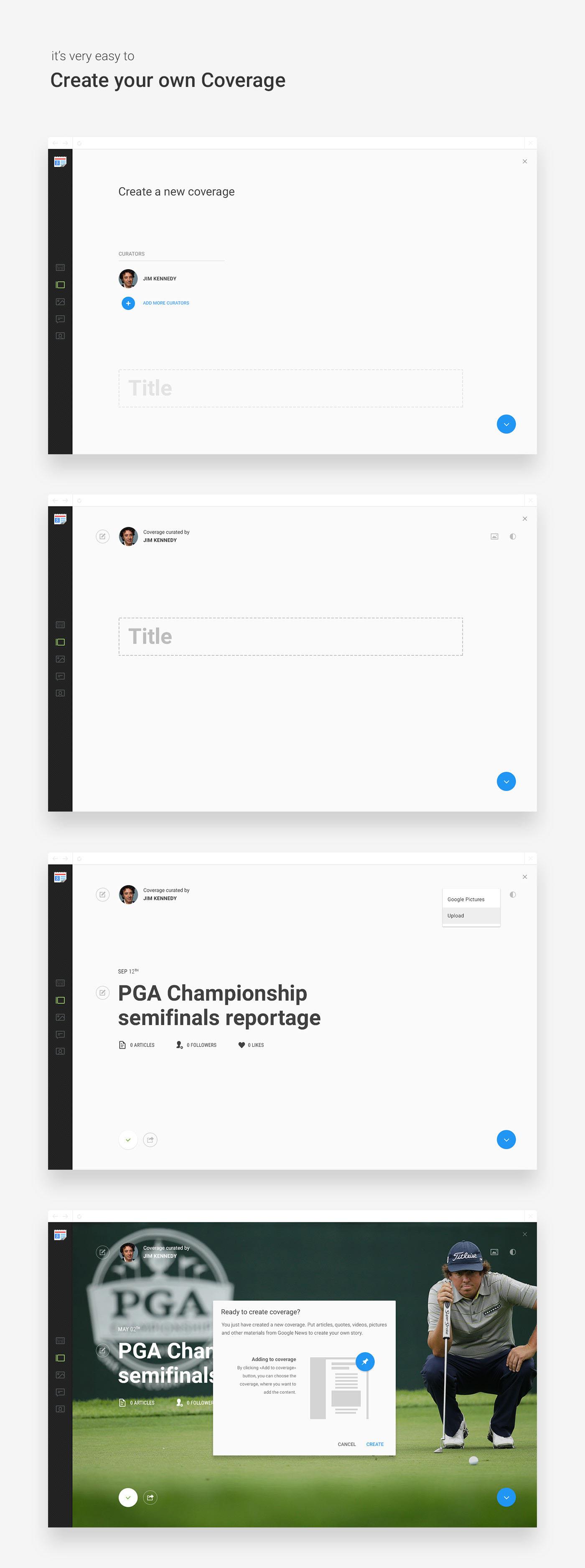 Adobe Portfolio google Google News news redesign concept design clean material