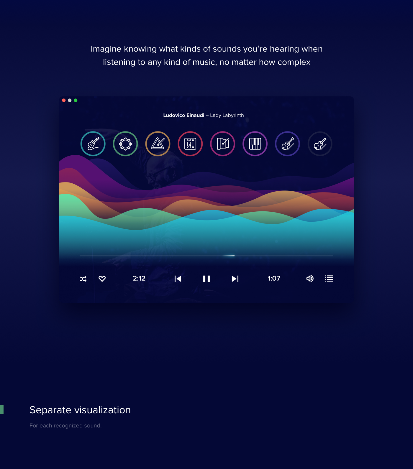 artificial intelligence UI ux Interface animation  waves concept desktop player music